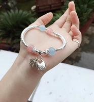 Sterling S925 Silver Bracelet Women's Aquamarine Lock Leaf Tassel Beads 10mm 16cmL