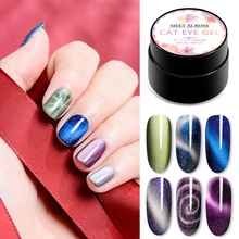 MEET ACROSS Magnetic 5D Cat Eyes Nail Gel 5ml Soak Off UV Lacquers Starry Sky Jade Effect Varnish Manicure Art Lacquer