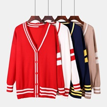 2019 Spring Autumn Woman Korean Style Long Sleeve Single-breasted Knitting Long Cardigans V-neck Loose Sweaters Knitting Tops white knitting roll neck long sleeves sweaters