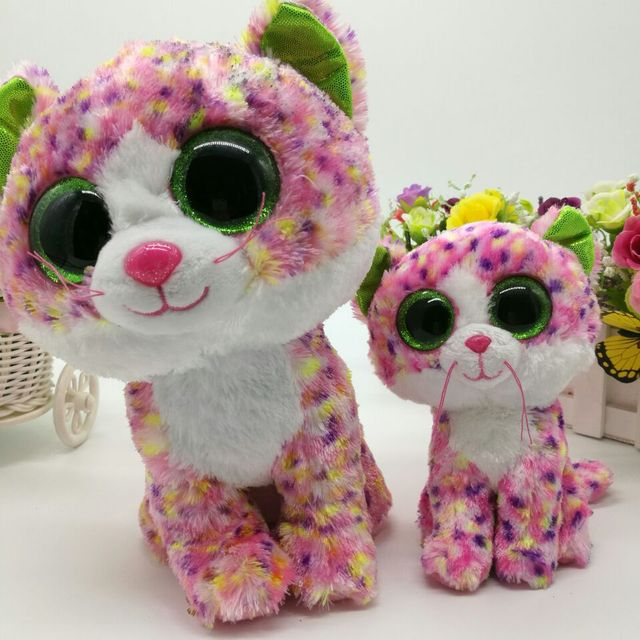 In Stock Original Ty Beanie Boos Big Eyed Stuffed Animal Sophie - pink cat  Plush Doll bfe353bd61d8