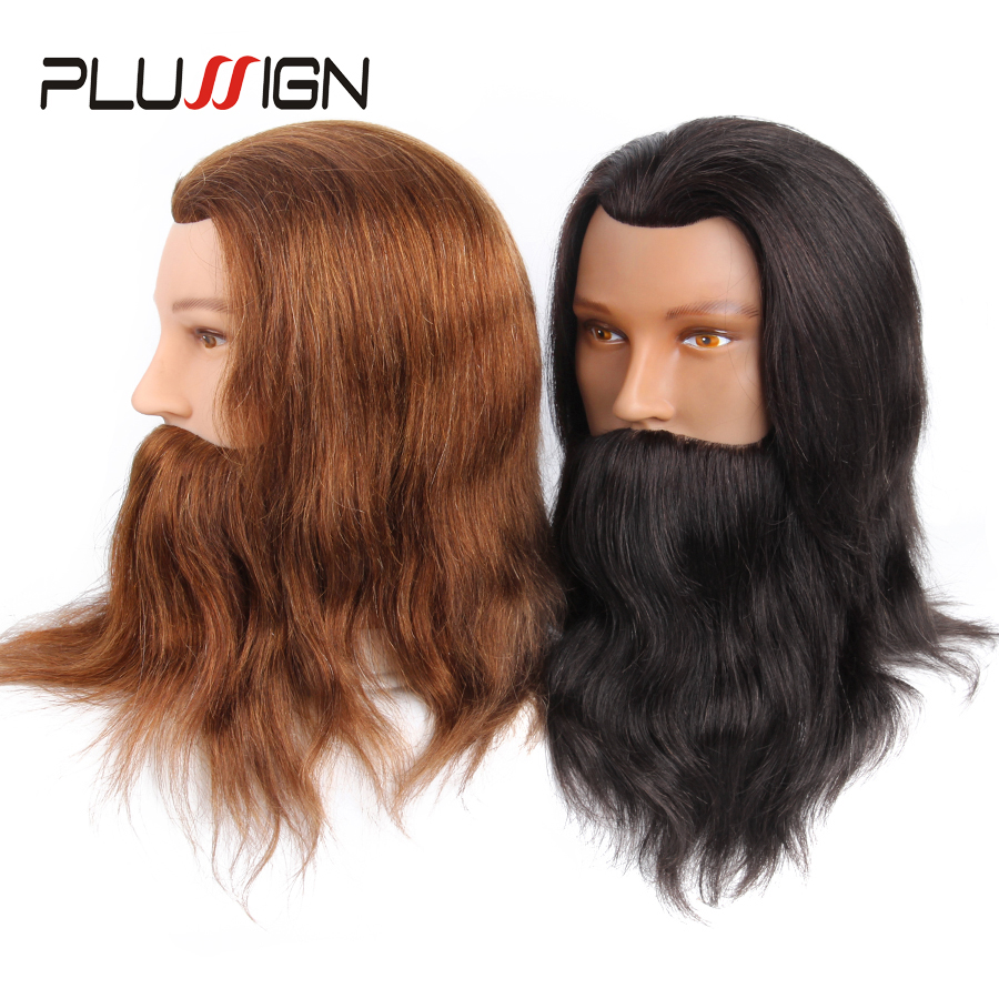 100% Real Human Hair Beard Hairdressing Training Man Head Professional Practice Mannequin Head Model Brown Color