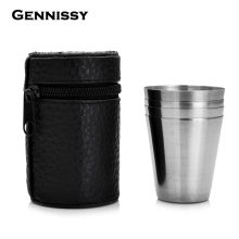 GENNISSY 4 unids/set Pocket Shot Glass Mini Alcohol de Acero Inoxidable Taza Para Beber Whisky Mejores hombres de Regalo Al Aire Libre