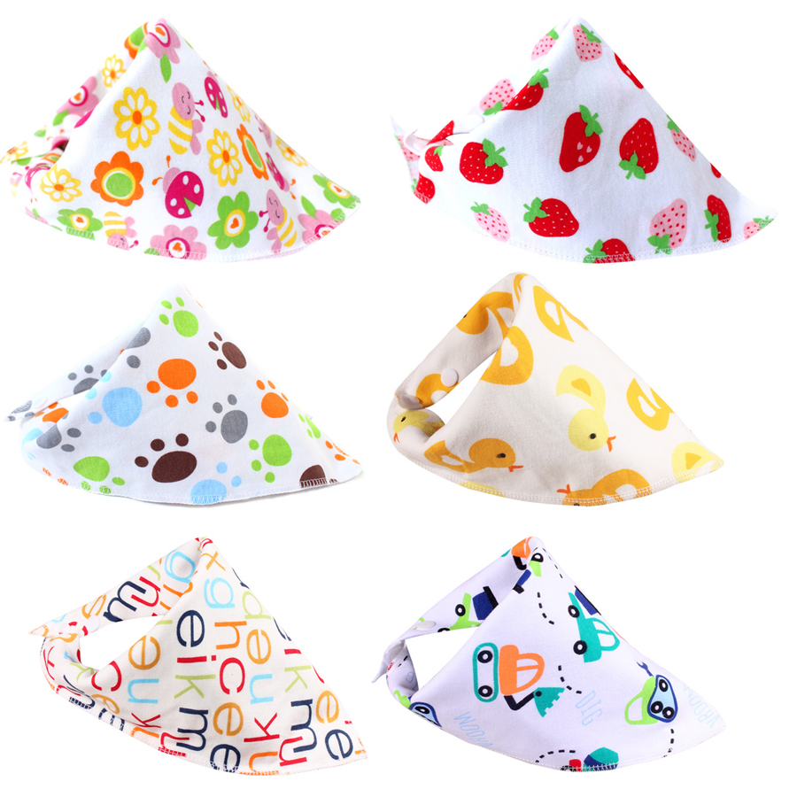 Cartoon Baby Bibs Towel Soft Cotton Bibs Newborn Triangle Scarf Babero Boys Girls Feeding Smock Infant Bibs Burp Cloths DS19