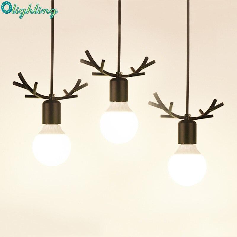 Nordic fancy black deer antler hanging pendant lights Northern American Art Decor wrought iron pendant lamp kids room restaurant