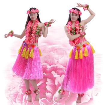 New Adult Women Hawaiian Flower Lei Headband Garland Bra Hula Skirts Fancy Dress Decoration Hawaii Party Favor