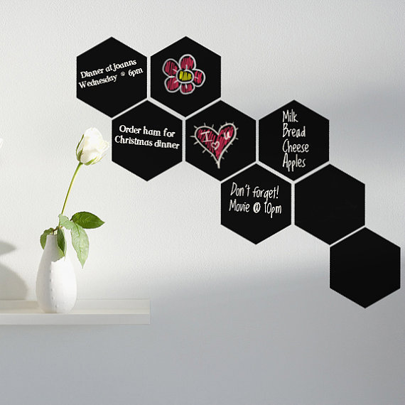 Home Decor Hexagon Blackboard Removable Vinyl Wall Sticker Chalkboard Decal Home Decor Chalkboard For Kids