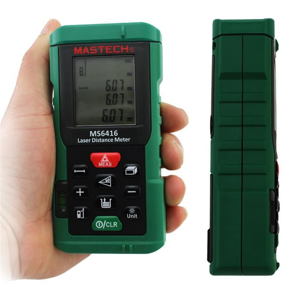 60m Laser Distance Meter Rangefinder Tape Measure Level Tool MASTECH MS6416 lumiparty cp 3010 18m mini ultrasonic digital tape measure laser rangefinder ultrasonic distance pointer rangefinder level tool