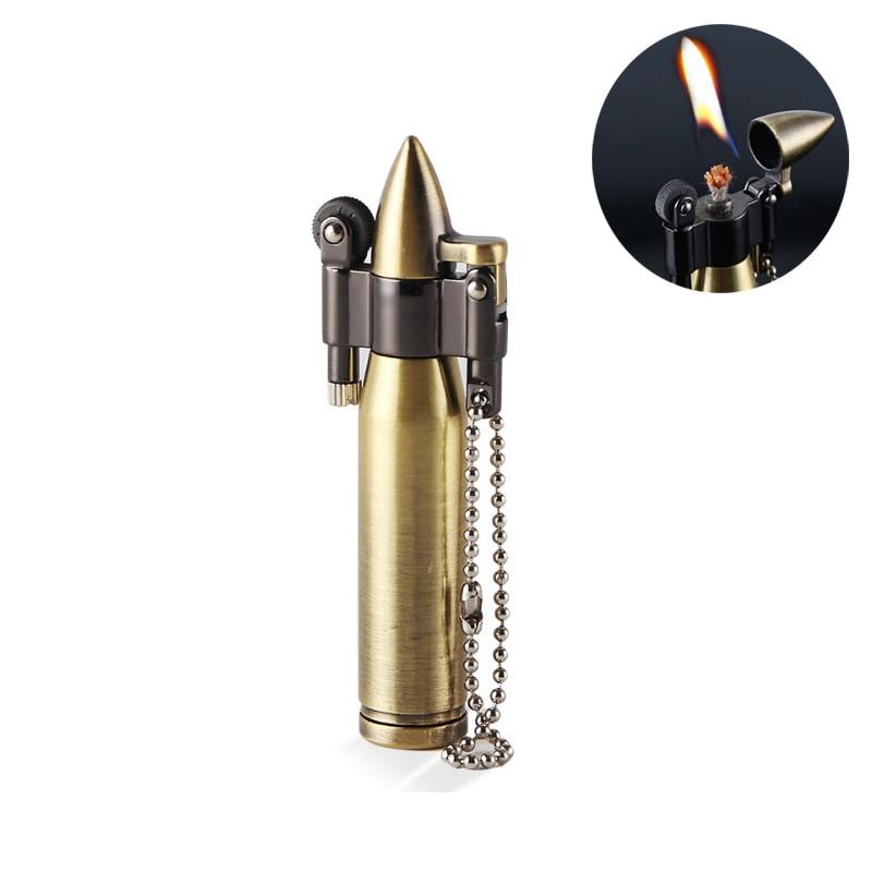 Retro Mini Kugel Feuerzeuge Flamme Kerosin Öl Leichter Schlüsselbund anhänger Zigarette Feuer Metall benzin Zigarre Feuerzeuge Männer Gadget
