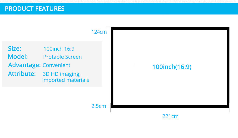 Rigal 60 100 inch 16:9 Portable Projector Screen Plastic Projection Screen Matte White for Wall Mounted Home Theater Bar Travel 12