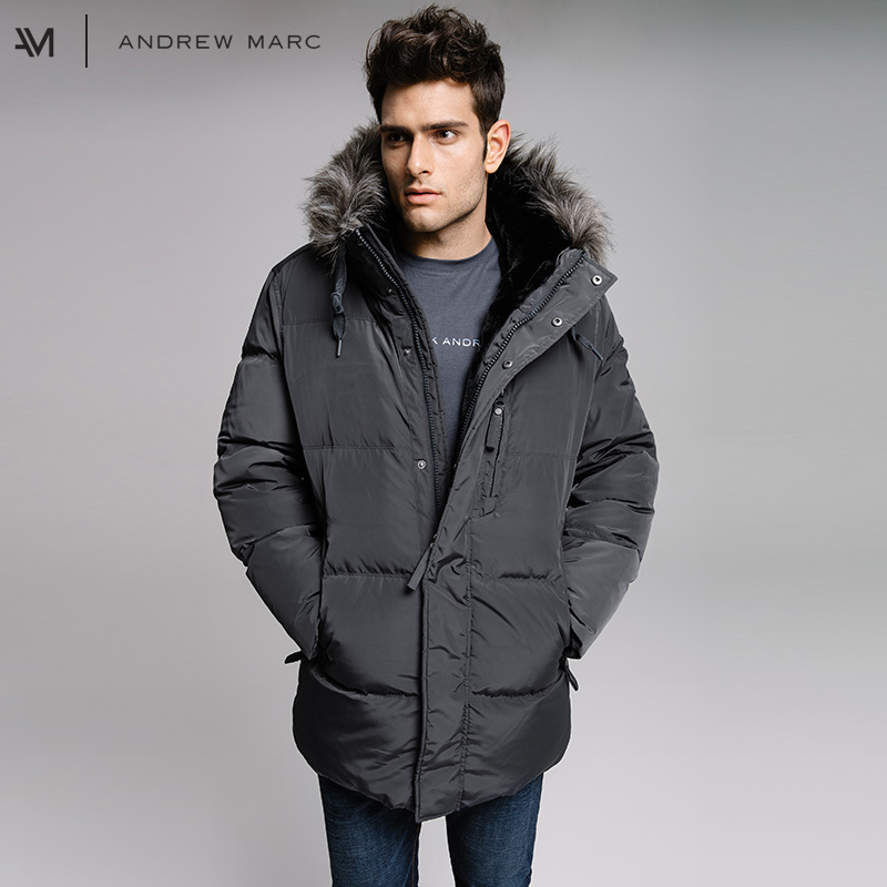 ANDREWMARC 2017 Men Thick Winter Down Jacket Coat Hooded Leisure Man Down Coats TM7AD281