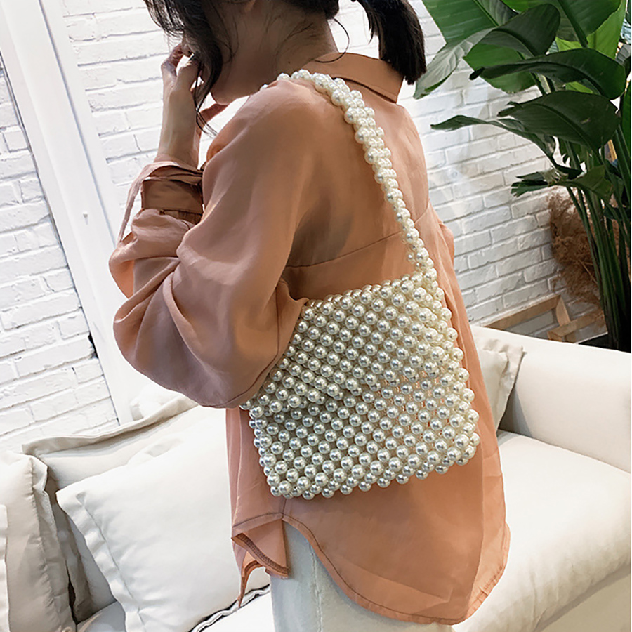 Handmade Beaded Pearls Bags For Women 39 s Shoulder Bags Elegant Acrylic Beads Bag Women Evening Bags Ladies Clutch Phone Purses in Shoulder Bags from Luggage amp Bags