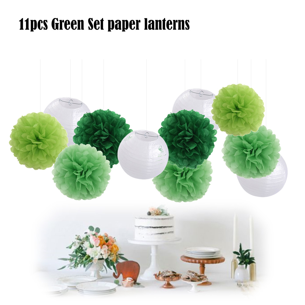 11pcs/set Green Set Summer Theme Party Decorative 8 White Round Hanging Paper Ball lanterns 10 25cm Tissue Decoration Pom Pom