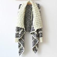 Шикарный винтажный необычный вязаный кардиган с рукавами «летучая мышь», Геометрическая накидка, пончо, Полосатое трикотажное пальто с длинными рукавами, шаль, куртка, топы