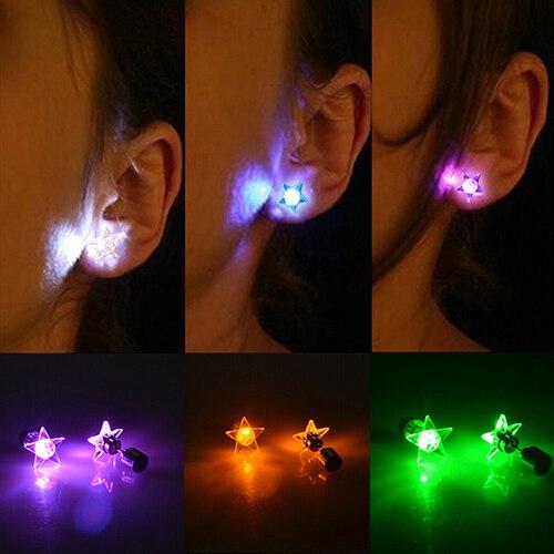 Hot LED Light Star Earrings Studs for Dance Party Christmas Halloween Festival Gift 6Y36 7FU8 BCYE