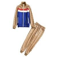 XF 1012 4 2018 New Runway Designer Autumn Casual Sports High Quality Women CC Print Set Zipper Top + Pants 2 Piece Set