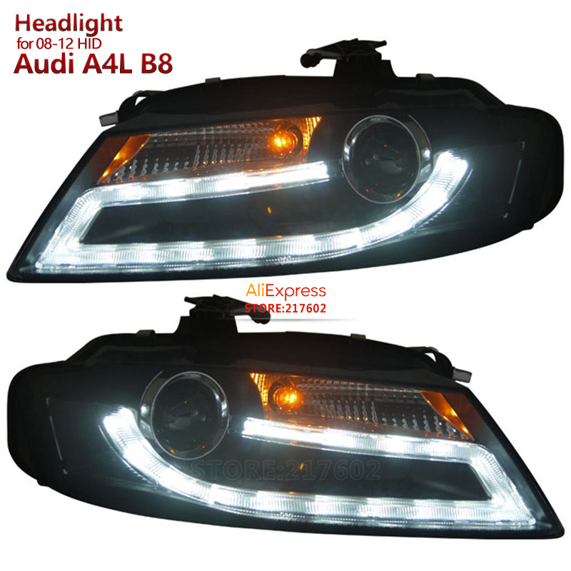 for Audi A4 A4L B8 Headlights Assembly 2009 to 2012 year with DRL light replacement for HID/Xenon model only with Auto-Adjust