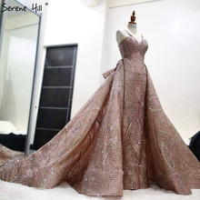 Rose Gold A Line Sexy Sparkle Evening Dresses Detachable Train High end Luxury Formal Evening Gowns Serene Hill LA6670