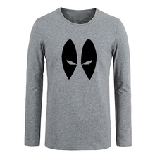 Deadpool Marvel DC Comics Eyes Men Customized Cotton Long Sleeve Tops Tees for Boy Casual Clothing Anime cosplay family T shirt