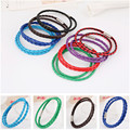 simple design jewelry blue brown red blue black purple green leather alloy easy clasp wrap macrame bracelets & bangles for women