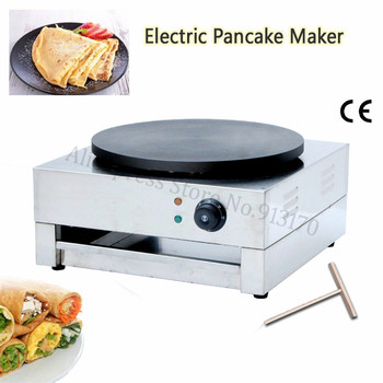 Stainless Steel Electric Crepe Maker Griddle Pizza Pancake Crepe Making Machine 40cm Nonstick Round Pan Wood Spreader цена 2017