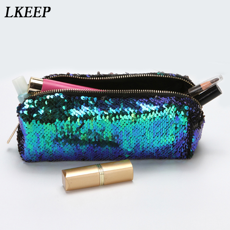 Fashion Cosmetic Bags Double Color Sequins Handbag Cosmetic Bag Makeup Pouch Women Girl's Pencil Bags High Quality AY993694 fashion 2018 sequins change color cosmetic bag women makeup beauty handbag girls ladies make up pouch bags