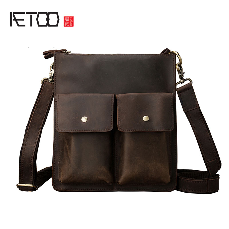 AETOO Original design crazy horse leather men s shoulder bag briefing package packs the first layer