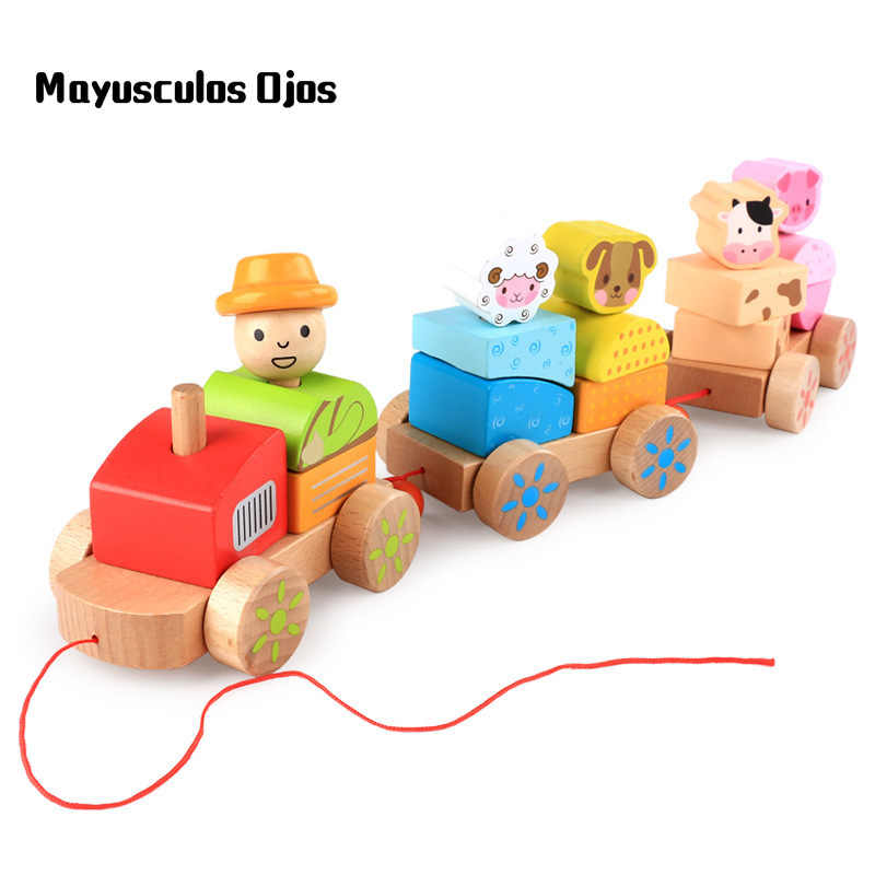 1PC New Children Wooden Haul Farm Animals Three Small Trains Infants Early Education Cognitive Toddler Educational Toys