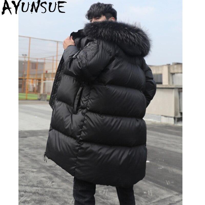 AYUNSUE Men's Winter Down Jacket Thick Warm Long Coat 90% Duck Down Jacket Men Raccoon Fur Collar Korean Puffer Parka 2019 J2640