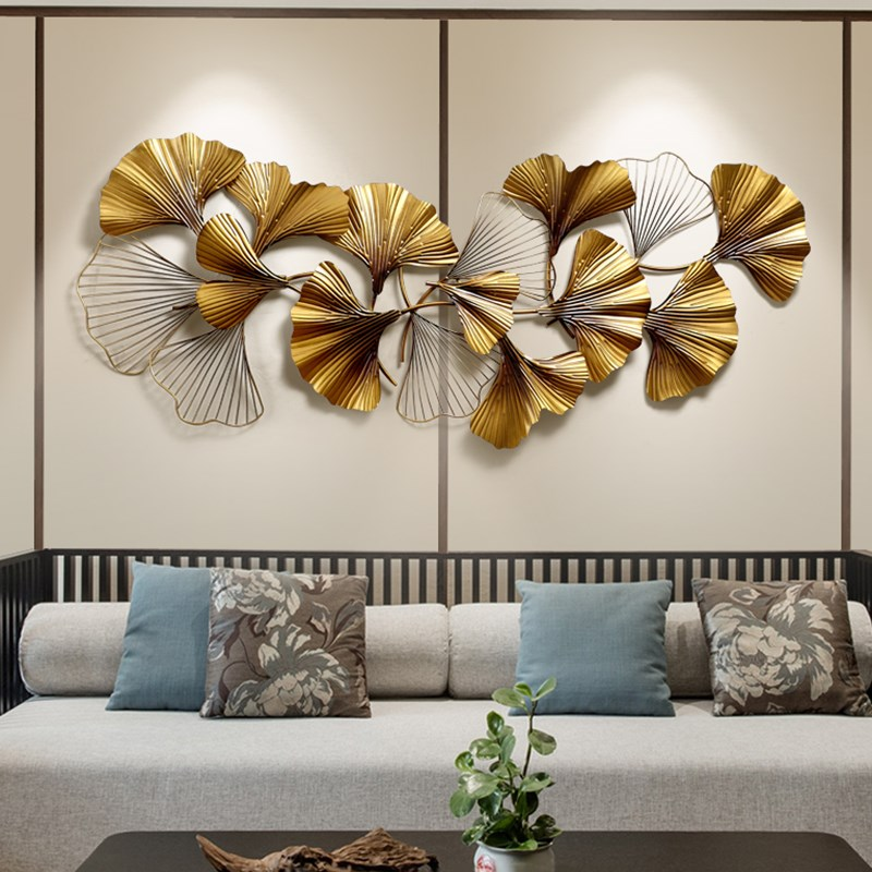 New Chinese Wall Wrought Iron Ginkgo Biloba Crafts Creative Wall Hanging Sofa Background Mural Home Decoration Accessories R629