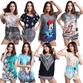 Nuevo 2016 Mujeres Del Verano Tops de Manga Corta Camiseta Más la camiseta Floja Femenina Camiseta Larga Túnica