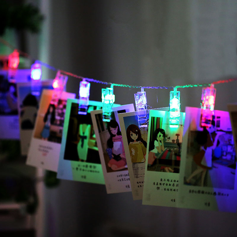 Binval Battery Powered Photo Clips LED Holiday Lighting Flash Indoor Christmas Party Wedding Home Decoration Album Fairy Lights