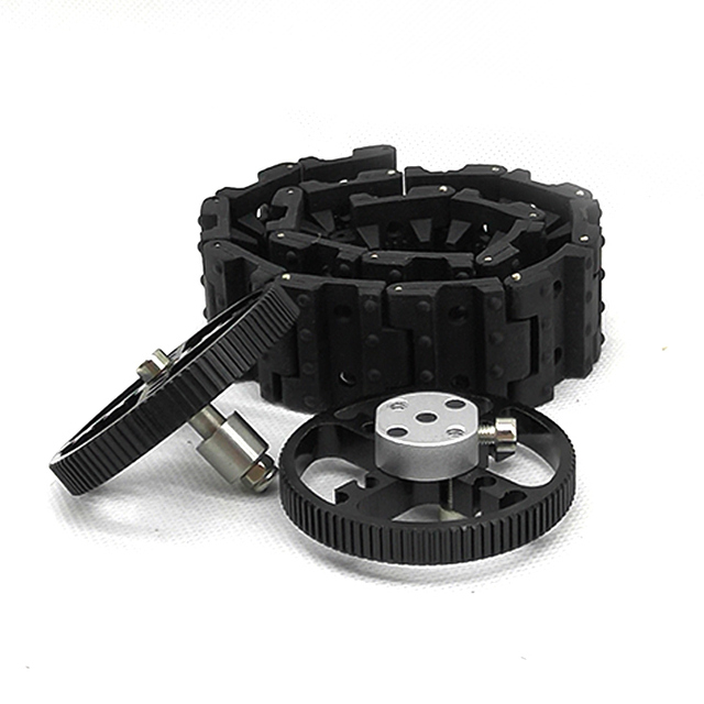 محمل العجلة المعدنية + عجلة القيادة المعدنية + المسار المطاطي. مجموعة واحدة من لتقوم بها بنفسك روبوت دبابات أطقم