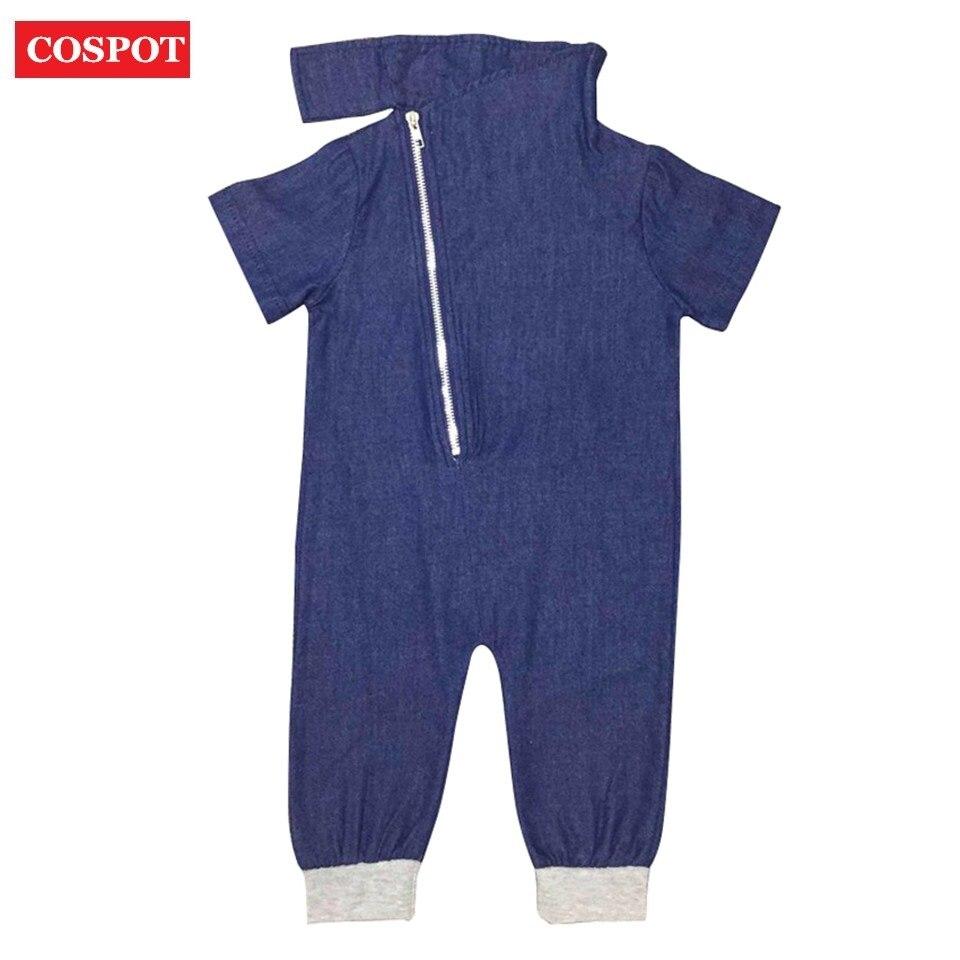 COSPOT Baby Boys Summer Rompers Boy Cotton Plain Blue Jumpsuit Newborn Fashion Jeans Jumper Rompers for Newborns 2018 New 15D cospot baby boys plain gray romper