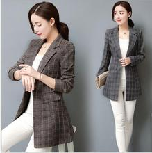 THYY 2018 Long Plaid Spring Autumn Coat Blazer Women Suit Ladies Refresh Blazers Comfortable Women's Blazers Free Shipping A787