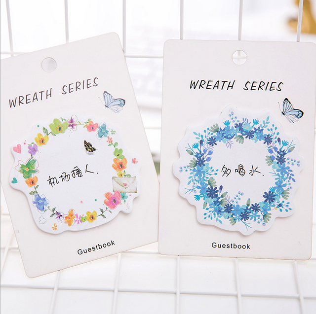30 Sheets 12.5*8.7cm Beautiful Wreath Memo Pad Sticky Notes Memo Notepad Bookmark Paper Sticker School Office Supply