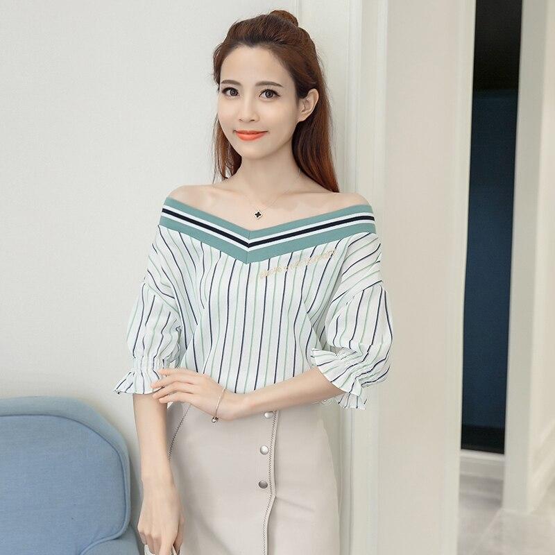 Nuevas camisas de las mujeres flare manga carta bordado flojo camisa de la blusa