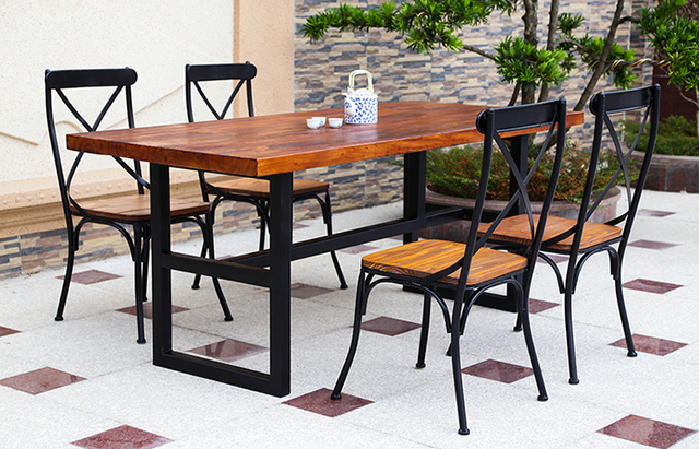 American Retro Wood Tables Wrought Iron Table Rectangular Dining - Rectangular retro diner table