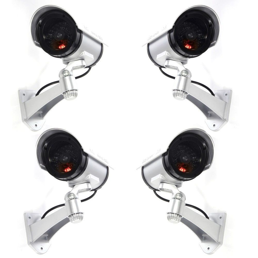 4x Infrared LED Silver Fake Dummy Camera Home CCTV Security Surveillance4x Infrared LED Silver Fake Dummy Camera Home CCTV Security Surveillance