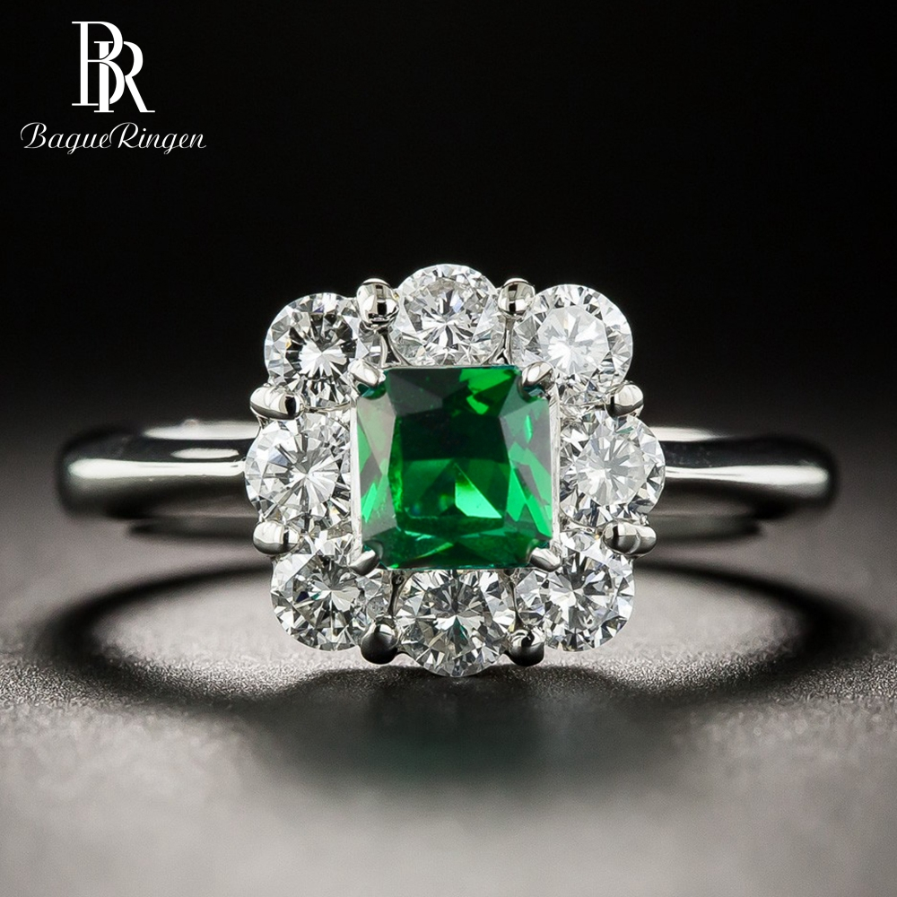 Bague Ringen Vintage Women Silver 925 Jewelry Emerald Rings Green Gemstone Wedding Anniversary Fine Jewelry Ring Wholesale Gifts