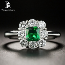 Bague Ringen Vintage Women Silver 925 Jewelry Emerald Rings Green Gemstone Wedding Anniversary Fine Ring Wholesale Gifts