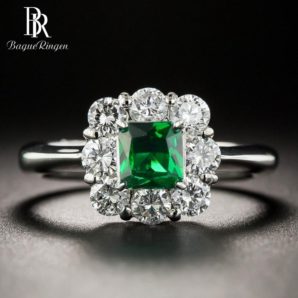 Bague Ringen Vintage Women Silver 925 Jewelry Emerald Rings Green Gemstone Wedding Anniversary Fine Jewelry Ring Wholesale Gifts