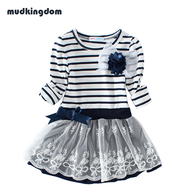 Mudkingdom Girls Wedding Flower Dress Kids Striped Bow Lace Princess Casual Dress For Party Kid Clothes Roupas Vestido Infantil children clothes new kids dresses for girls lace long sleeve autumn party dress bow knot princess wedding dress vestido infantil
