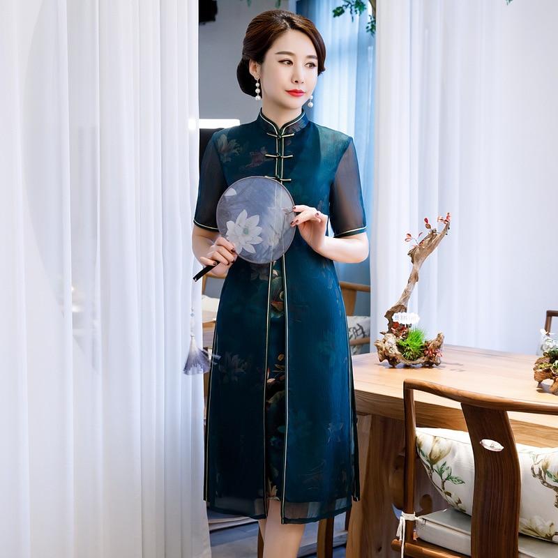 Plus Size 3XL 4XL Chinese Traitional Style Women Rayon Print Qipao Elegant Slim Dress Short Sleeve Stage Show Cheongsam