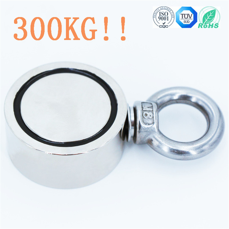 Double Side Strong Salvage Magnet Fishing 300Kg Pulling Force 60mm Diameter Super Strong Round Neodymium Fishing Magnet WitDouble Side Strong Salvage Magnet Fishing 300Kg Pulling Force 60mm Diameter Super Strong Round Neodymium Fishing Magnet Wit