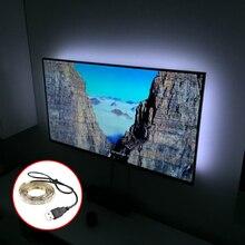 50-150CM 5050 USB RGB Led Strip + Mini 3Keys Contoller 30led Waterproof White/Black PCB TV Background Computer home DIY tool Q