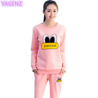 YAGENZ Women Autumn Sportswear Fashion Two Pieces Set Small Yellow Duck Eyes Printed Tops+Long Pants Leisure Womens Clothing 296