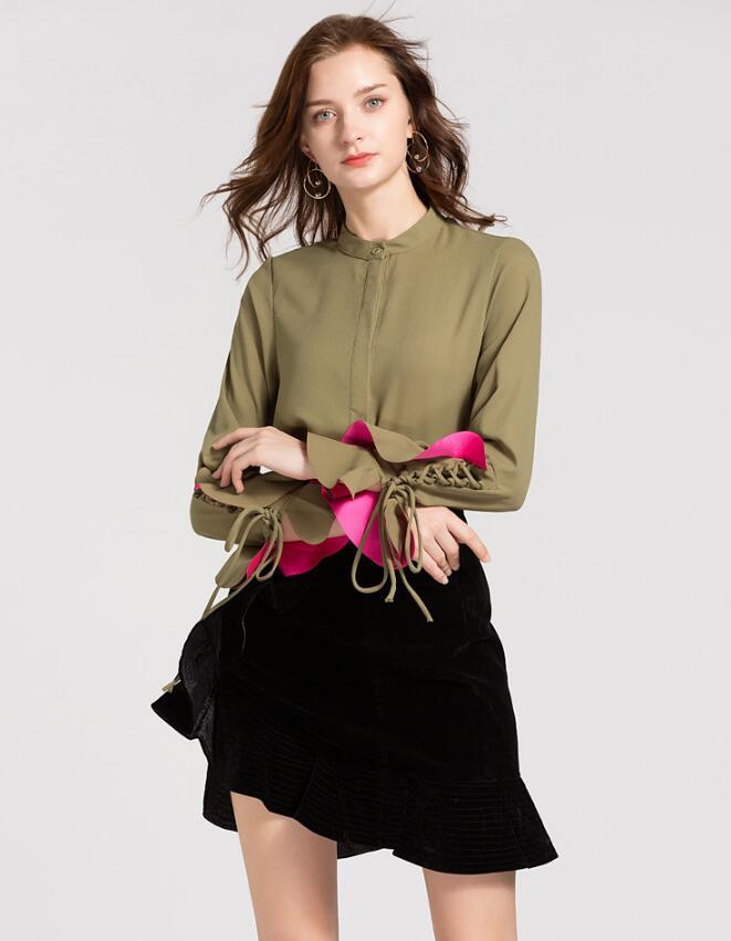Décontracté Bow Blouse dames O cou à manches longues hauts et Blouse 2018 nouvelle mode élégant bureau dame travail chemises vert SP-78