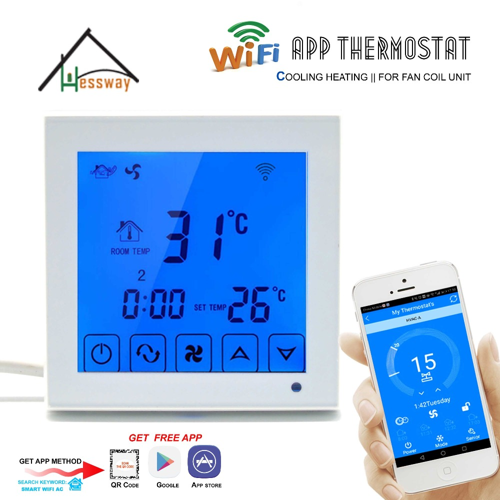2P 4PIPE Thermoregulator room temperature digital programmable smart thermostat WIFI for fan coil unit heat,cool hessway app by smartphone 2p programmable fan valve room thermostat wifi fcu for heating cooling