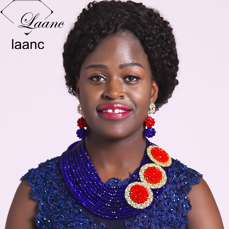 Laanc Royal Blue and Red Nigerian Wedding African Beads Silver Crystal Bridal Jewelry Set AL404Laanc Royal Blue and Red Nigerian Wedding African Beads Silver Crystal Bridal Jewelry Set AL404