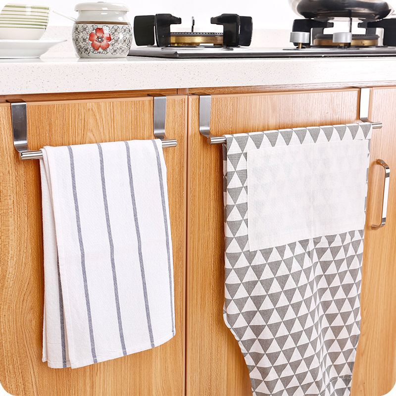 Stainless Steel Storage Rack Bathroom Towel Stand Rack Kitchen Towel Holder Cupboard Hanger Cabinet Door Hanging Sundries Shelf